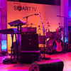 Staging featuring lighting, musical equipment and DJ for Samsung Smart TV NYC event
