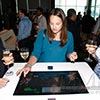 Touch table interactive digital engagement at lively NYC event